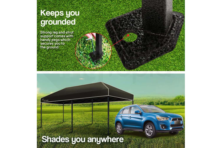 Red Track 3x6m Folding Gazebo Shade Outdoor Black Foldable Marquee Pop-Up