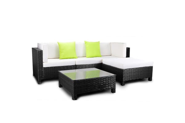 LONDON RATTAN 5pc Outdoor Lounge Furniture Setting Sofa Set Wicker Patio Black