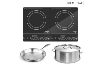 SOGA Dual Burners Cooktop Stove, 14L Stainless Steel Stockpot and 28cm Induction Fry Pan
