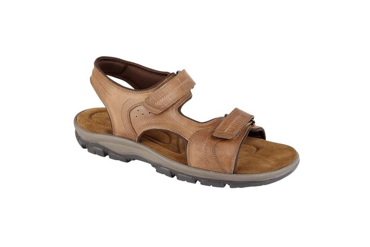 Roamers Mens Leather Twin Touch Fastening Sandal (Tan) (9 UK)