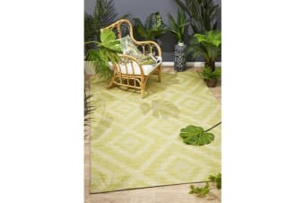 Wyatt Citrus Green Geometric Coastal Runner Rug 400x80cm