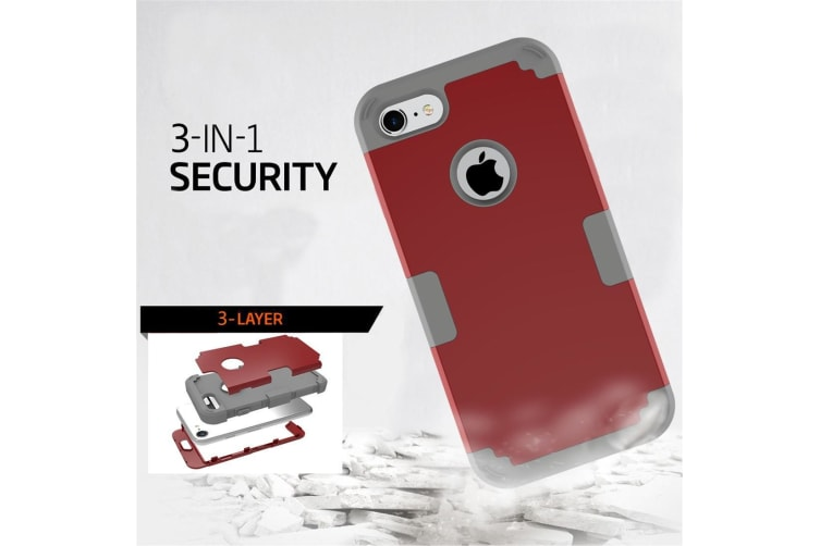 For iPhone 8 7 Case Stylish Triple Layer Armour Durable Protective Cover Red