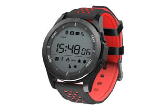 "Bluetooth V4.0 Smart Watch 1.1"" Lcd Heart Rate Blood Oxygen Ip68 Black Red"
