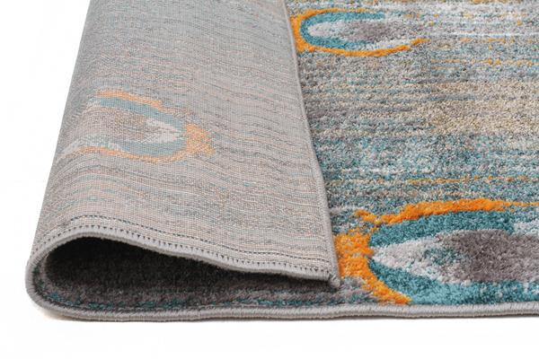 Peacock Feather Austin Rug Grey Blue Rust 230x160cm