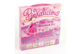 The Pinkalicious Take-Along Storybook Set - Tickled Pink, Pinkalicious and the Pink Drink, Flower Girl, Crazy Hair Day, Pinkalicious and the New Teacher