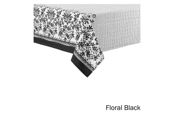 Watercolour Floral Tablecloth 8 to 10 Seater Oblong 150 x 265 cm Black