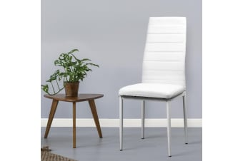 Artiss 4x Astra Dining Chairs Set Leather PVC Stretch Seater Metal White Table