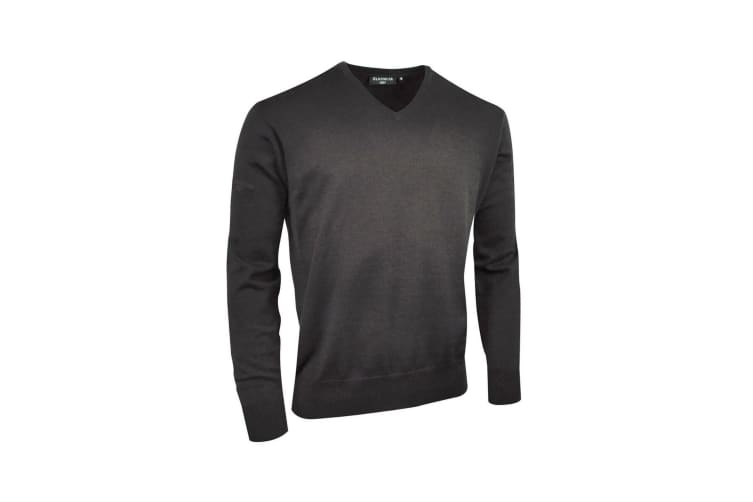 Glenmuir V Neck 100% Cotton Sweater / Knitwear (Charcoal) (S)