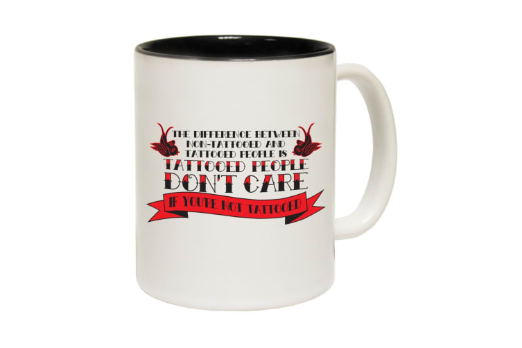123T Funny Mugs - Difference Between Tattooed Non Tattooed - Black Coffee Cup