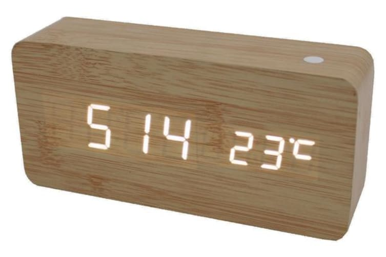 White Led Wooden 3 Alarm Clock + Temperature Display Usb/Battery Wood Beige 6035