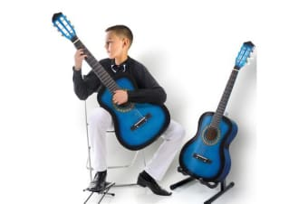 "34""Acoustic Guitar for Children Wooden Blue"