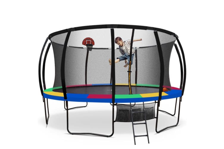 UP-SHOT 16ft Round Kids Trampoline Curved Pole Basketball Set Black Multi-colour