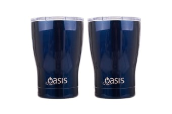 2PK Oasis 340ml Double Wall Insulated Stainless Steel Travel Cup Mug w Lid Navy