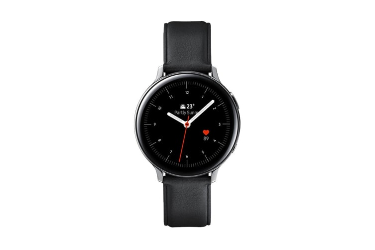 Samsung Galaxy Watch Active 2 R820 - Leather Band (Steel, 44mm, Bluetooth, Silver)