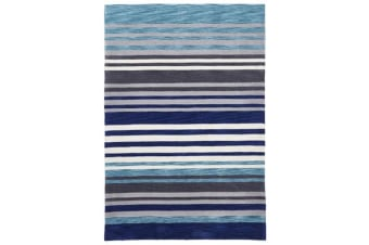 Modern Abrash Stripes Rug Blue Grey