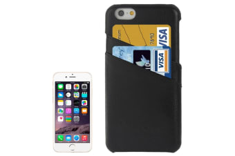 For iPhone 6S 6 Case Fashion Handmade Genuine Leather Cover Card Slot Black