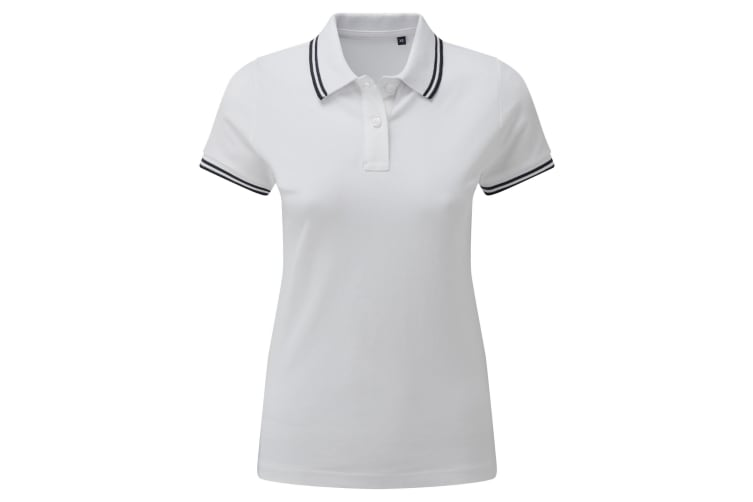 Asquith & Fox Womens/Ladies Classic Fit Tipped Polo (White/Navy) (M)