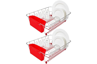 2x D.Line Dish Rack Drying Holder Tray Kitchen Cup Plates Cutlery Drainer Red