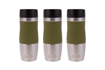 3x Oasis Cafe 380ml Stainless Steel Insulated Travel Drink Mug Flask Avocado GRN