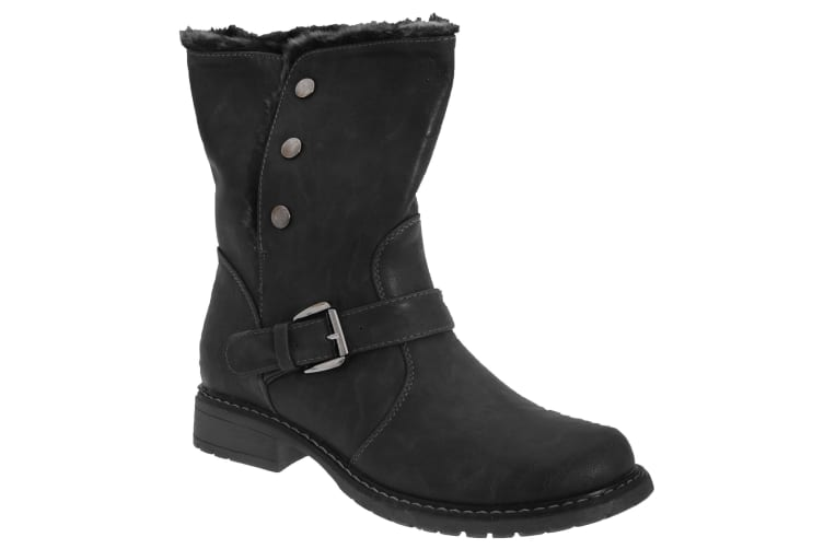Cats Eyes Womens/Ladies Fold Down Biker Style Ankle Boots (Black) (4 UK)