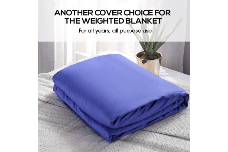 Dreamz 100% Cotton Zipper Cover for Weighted Blanket Washable Protector 3 Colors  -  Blue198x122cm
