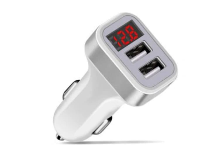 Generic Dual USB Car Charger 5V 2.1A Digital Display Car Charger - Silver