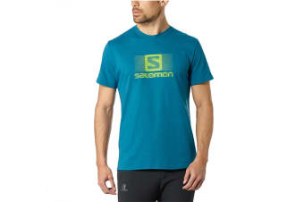 Salomon Blend Logo Short Sleeve Tee Men's (Moroccan Blue, Size Large)