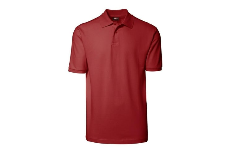 ID Unisex Yes Short Sleeve Regular Fitting Plain Cotton Polo Shirt (Red) (XL)