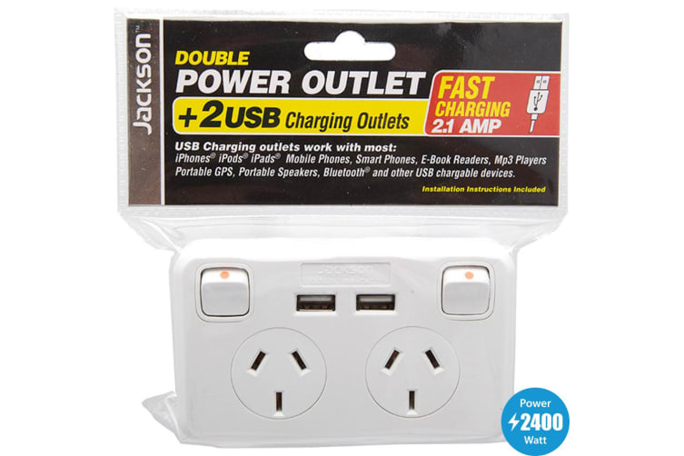 Jackson Double GPO with 2 USB Socket 240V Wall Plate New