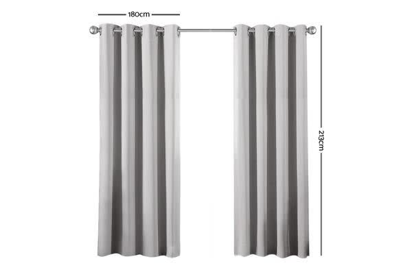 Art Queen 2 Panel 180 x 213cm Block Out Curtains (Light Grey)