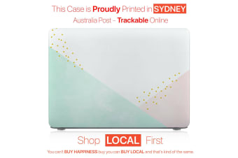 "Hard Case Cover for Apple Macbook Pro 13"" Inch  A1708-Matte Clear-Geometric Green Pink"