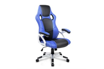 Artiss PU Leather Padded Office Desk Computer Chair - Blue