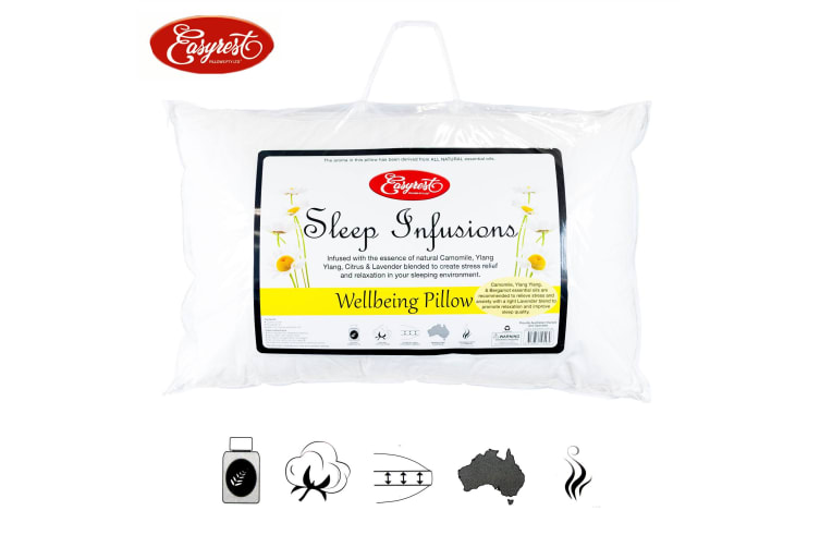 Sleep Infusions Camomile Ylang Ylang Citrus and Lavender Wellbeing Standard Pillow by Easyrest