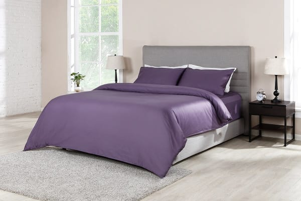Ovela 1000TC 100% Egyptian Cotton Quilt Cover Set (Queen, Lilac)