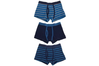 Tom Franks Boys Trunks With Keyhole Underwear (3 Pack) (NAVY/BLUE) (7/8 Years)