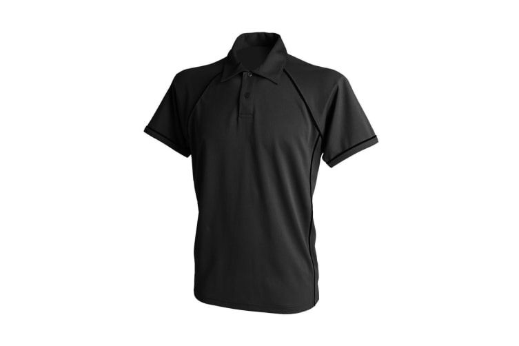 Finden & Hales Mens Piped Performance Sports Polo Shirt (Black/Black) (S)