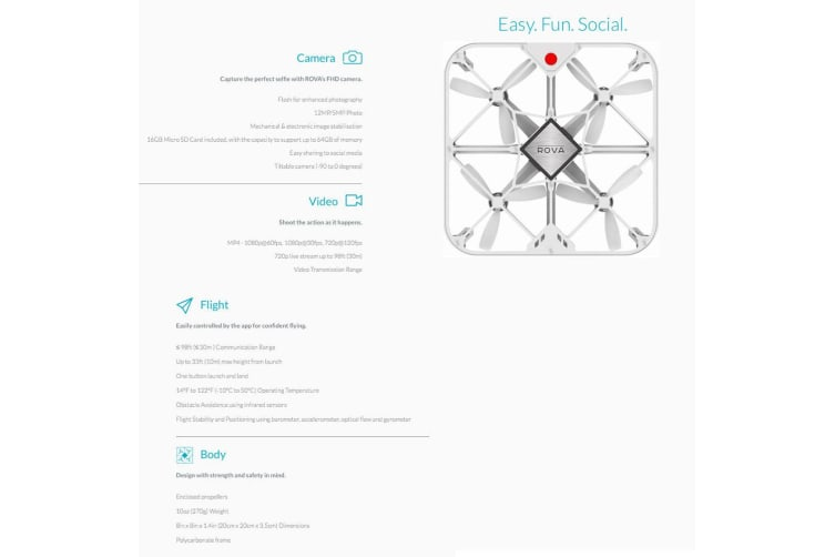 ROVA A10 WHT Flying Selfie Air Drone FHD Video Camera/12MP Photo for Smartphone