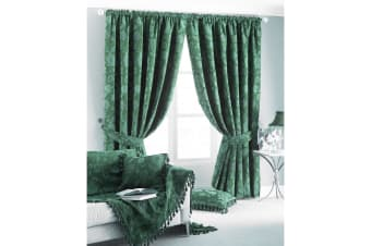 Riva Home Zurich Pencil Pleat Curtains (Green)