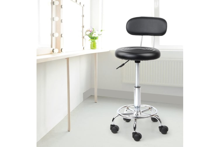 Artiss Salon Stool Chair Backrest Stools With Back PU Leather Swivel Barber Hairdressing Height Adjustable Black