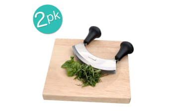 2PK Davis & Waddell Mezzaluna Herbs Chopper Knife & Board Chopping Kitchen Tool