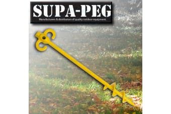1x 500mm x 15mm SUPA-PEG SCREW TENT PEG POLYCARBONATE HEAVY DUTY ANNEX YELLOW