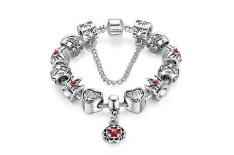 Pandora Inspired Full Set Beaded Charm Bracelet-Red