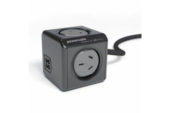 Allocacoc 1.5M Extended Power Cube 4 Outlets W/ 2 USB Ports - Black