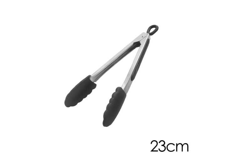 Gera 23cm Kitchen 18/10 Stainless Steel Tongs Silicone Cooking Salad Serving