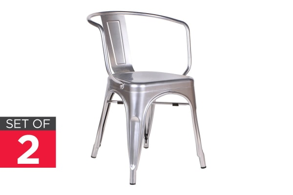 Ovela Set of 2 Tolix Replica Dining Chairs (Silver)