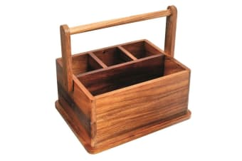 Wooden BBQ Caddy 4 Compartment Picnic Camping Cutlery Rack Holder Organiser