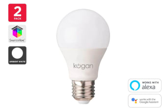 Kogan SmarterHome™ 10W White Smart Bulb (E27) - Pack of 2