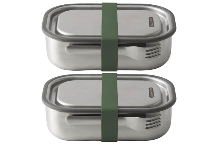 2PK Black + Blum 1L Vacuum Insulated Stainless Steel Lunch Box Container Green