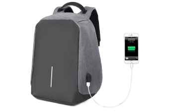 "Lenoxx Anti-Theft 15"" Laptop Backpack w/USB Port for PowerBank Charger Black/GRY"