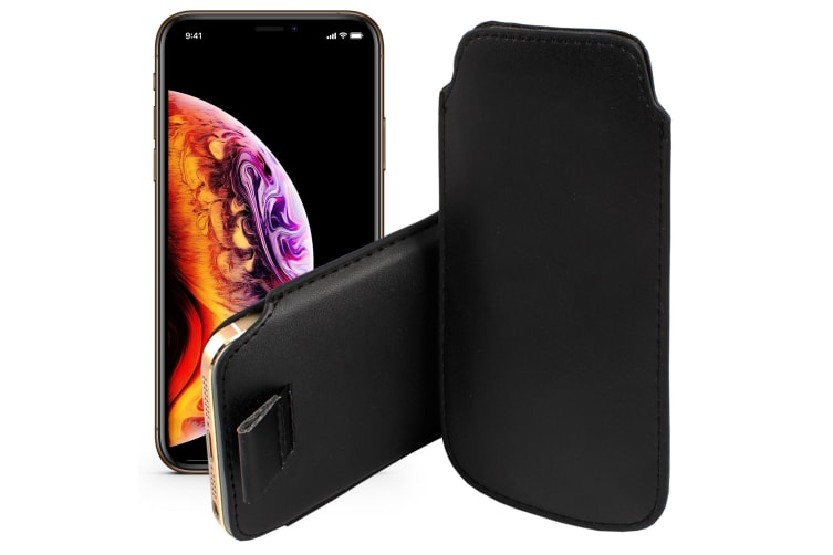 "Apple iPhone 11 Pro (5.8"") Black Pull Tab Slim Faux Leather Pouch Sleeve Case by MEZON – Shock Absorption, Wireless Charging Compatible (iPhone 11 Pro, Black)"